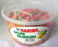 Haribo saure Gurken, New Price!, saures Fruchtgummi, ohne Gelatine, 150 Stück in der Frischebox