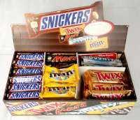 Mars Topseller Box mit Bounty, Mars, Snickers, Twix, M&M`s, 72 Stück zum Toppreis!