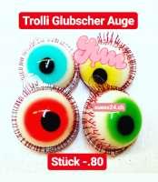 Trolli Glubscher Glotzer Auge, Wochenknaller zu Halloween -20%!!! mit flüssiger Füllung, 1 Stück