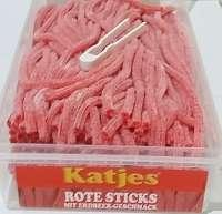 Frigeo, Katjes, Rote Rattenschwänze, Erdbeer, Katjes rote Sticks, ohne Gelatine, 200 Stück