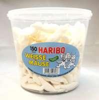 Haribo weisse Mäuse, Schaumzucker, 150 Stück in der Frischebox