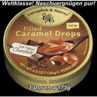 Cavendish & Harvey Caramel Drops, gefüllt mit Schoko, 3 Dosen a 130g