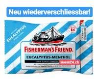 Fishermans Friend Eukalyptus Menthol, ohne Zucker, Neu wiederverschliessbar, 24 Beutel