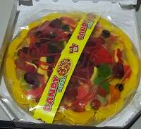 Pizza aus Gummibärli, Fruchtgummi Pizza im Karton, Geschenkidee!
